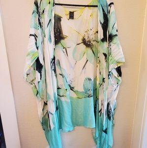 Kimono- turquoise, yellow, lime green, b & w